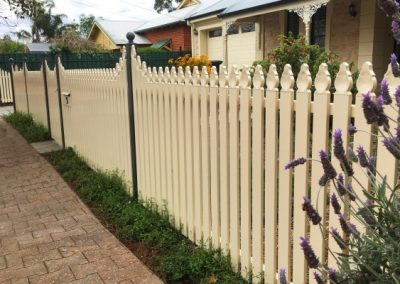 Heritage style picket fence installed in a residential property in suburban Adelaide