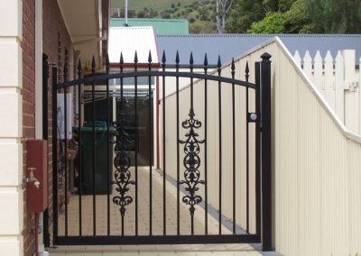Seacliff Design with Melrose Spears; Huntley Newels Welded into centre of Single Gates; Satin Black; Old Noarlunga