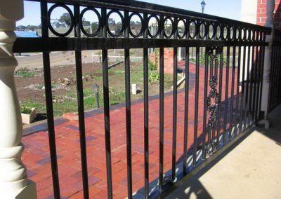 Henley Design with Circles & Moulded Handrail; Balustrade around verandah; Chicago Newels; Satin Black; Mt Barker