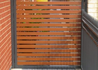 Springfield Design Horizontal Aluminium Slats 65x16mm Western Red Cedar Slats Woodland Grey Frame Reynella