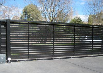 Leabrook Design Horizontal Slats 65x16. Inside View. Sliding Gate Millswood Satin Black