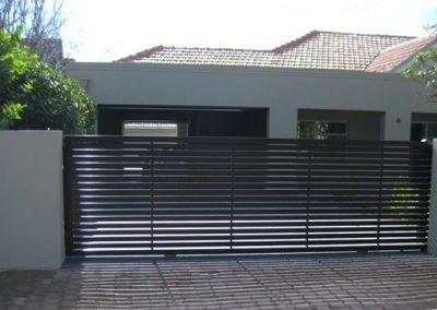Leabrook Design Horizontal Slats 65x16. Front View. Sliding Gate Millswood Satin Black