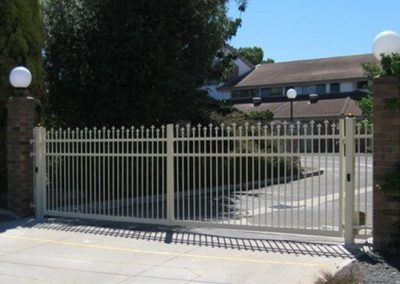 Seacliff Design with Fleur De Lis Spears Extra Rail & 80x40 Bottom Rail to suit Automation Swing Gates for Nursing Home Outside View Smooth Cream
