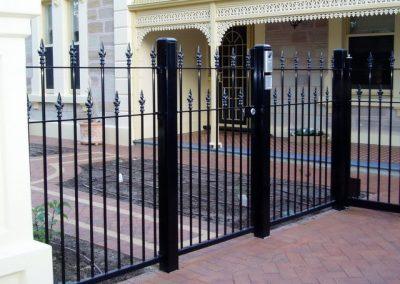 St Peters Design 40x10 Flat Bar Aluminium Construction Camden Spear Personal Access gate fitted with 001 Lockwood Lock, Keypad & Intercom Gloss Black