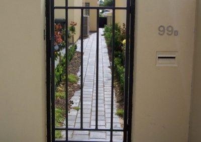Henley 4 Rail Design Aluminium Construction; Single Gate with Satin Chrome Lockwood Lock; Satin Black; Glenelg
