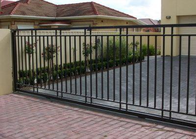 Henley 4 Rail Design Aluminium Construction; Sliding Gate; Satin Black; Glenelg