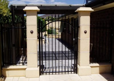 Seacliff Design Arched Single Gate with Melrose Spears; Single Gate with 001 Satin Chrome Lockwood Lock; Satin Black; Reynella