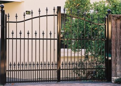 Brighton Design; 3 Rail Camden Spear with Extra Row of Spears & Uprights; Arched Double Gates; Satin Black; Seacliff
