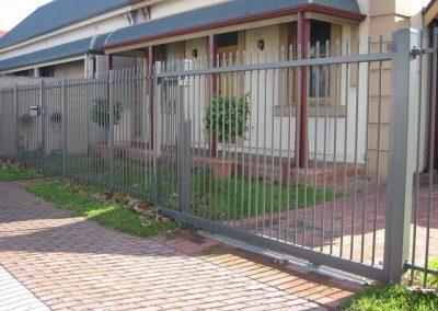 Keswick Design Squash top Security; Sliding Gate; Woodland Grey; Brighton
