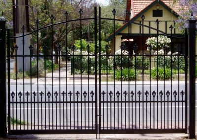 Brighton Design; 3 Rail Highgate Spear with Extra Row of Spears & Uprights; Arched Double Gates; Satin Black; Mitcham