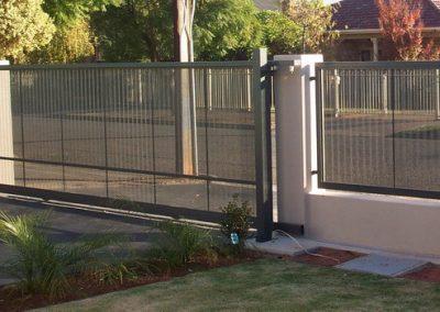 Perforated Corrugated Sheeting Sliding Gate & Fence Panels Woodland Grey Cumberland Park