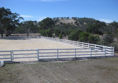 Post & Rail; Horse Arena; White; Hay Flat