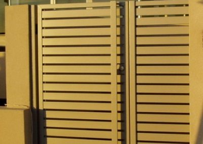 Leabrook Design; Horizontal Slats 65x16 with 10mm Gaps; Personal Access Gate with Satin Chrome Lockwood lock; Handle welded full length of gate; Citi Pearl; West Beach
