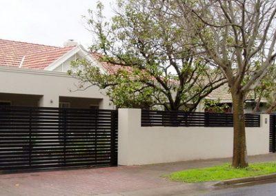 Leabrook Design; Horizontal Slats 65x16 with 10mm Gaps; Sliding Gate & Fence Panels between pillars; Satin Black; Millswood