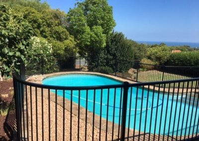 Grange Design Pool Fence with contoured panel Seacliff Park Monument