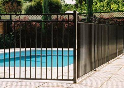 Henley Design Pool Fence 3 Rail with 3 Circles Cumberland Park Satin Black