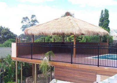 Henley Design Pool Fence 3 Rail with 3 Circles Rostrevor Satin Black