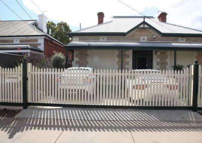 Unley Design Heritage Picket Sliding Gate Mile End Classic Cream Fencing, Heritage Green Posts & Frame